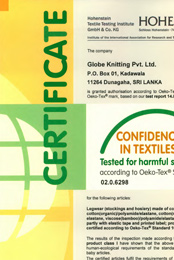 OekoTex 02 0 6298 Globe Knitting